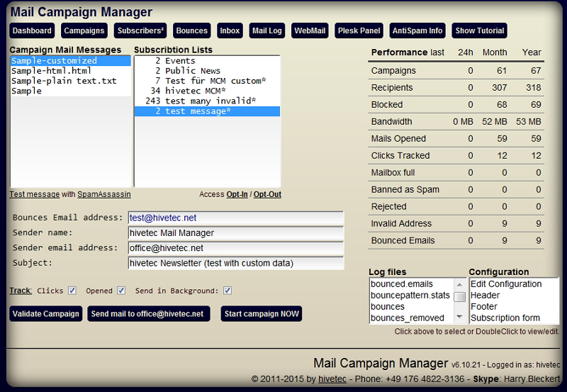 Mail Kampagnen Manager -eMail Campaign Manager screenshot